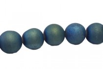 Druzy Agate ( Coated ) Opaque Blue/Green Matte / Frosted Round Gemstone Beads