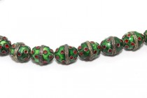 Enamel Green & Red Polka Dot Beads - Egg Shape