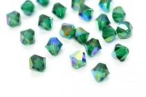 Emerald AB Swarovski Crystal Bicone Beads 5301/5328 - Factory Pack