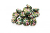 Enamel Green Floral Beads - Coin / Dime