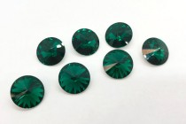 Emerald Swarovski Crystal Faceted Rivoli Rhinestone - Foil Back 1122
