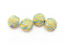 Aqua Blue & Gold Pinwheel Cloisonne Beads - Puffed Coin CL-64