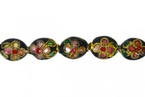 Enamel Black & Red Floral Beads-Oval