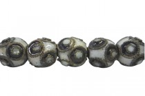 Black & White Cloisonne Round Beads with Circle Design CL-106