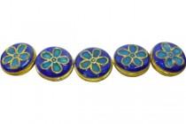 Enamel Cobalt Daisy Beads-Coin