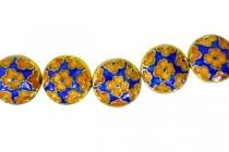 Enamel Cobalt Floral Coin Beads-Dime