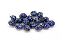 Cobalt Blue & Blue Cloisonne Egg Shaped Beads - Dotted CL-04