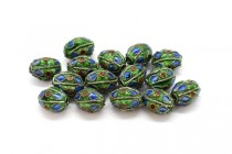 Blue, Green & Red Cloisonne Egg Shaped Beads CL-01