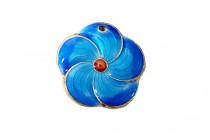 Enamel Blue Turquoise - Flower Shape Pendant