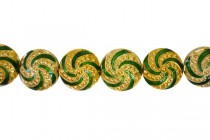 Enamel Gold/yellow & Green Spiral Beads-Puffed Coin