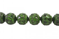 Enamel Green Geometric Beads-Round