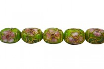Cloisonne Barrel Beads, Green, light  / Multicolored , Flowers