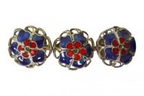 Cobalt Blue & Red Cloisonne Filigree Flower Beads CL-60