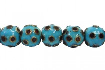 Aqua Blue & Black Cloisonne Polka Dotted Round Beads CL-105