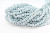Aquamarine (Natural) A Grade Faceted Disco Cut Round Gemstone Beads