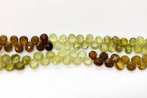 Grossular/ Green Garnet, Natural, A Grade, Faceted Top Drilled Flat Teardrop Gemstone Beads