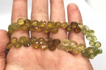 Grossular/ Green Garnet, Natural, A Grade, Faceted top Drilled Flat Heart Teardrop Gemstone Beads