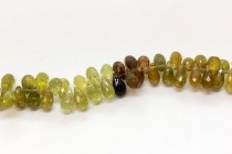 Grossular/ Green Garnet, Natural, A Grade, Faceted top Drilled Teardrop Gemstone Beads