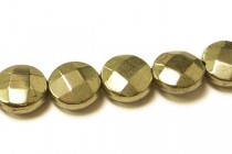 Pyrite (Natural) Faceted Coin Gemstone Beads with Rounded Edges