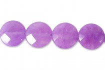 Quartz (Dyed/Treated) Purple Faceted Coin Gemstone Beads