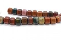 Fancy Jasper (Natural) Six Sided Drum Gemstone Beads - Large Hole
