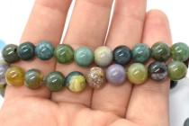 Fancy Jasper (Natural) Smooth Round Gemstone Beads - Large Hole