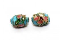 Aqua Blue Cloisonné Barrel Beads with Colorful Flowers CL-185