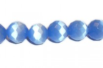 Blue Fiber Optic Glass (Cats Eye) Faceted Round Beads