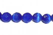 Cobalt Blue Fiber Optic Glass (Cats Eye) Faceted Round Beads