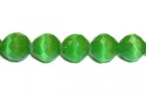 Bright Green Fiber Optic Glass (Cats Eye) Faceted Round Beads