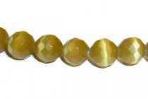 Honey Gold Fiber Optic Glass (Cats Eye) Faceted Round Beads