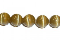Light Brown Fiber Optic Glass (Cats Eye) Smooth Round Beads