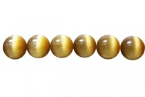Golden Brown Fiber Optic Glass (Cats Eye) Smooth Round Beads