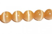Light Orange Fiber Optic Glass (Cats Eye) Smooth Round Beads
