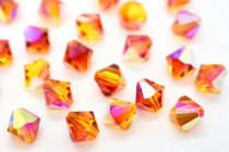 Fire Opal AB  5328 Swarovski Elements Crystal Bicone Bead