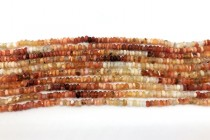 Fire Opal (Natural) A Grade Irregular Faceted Rondell Gemstone Beads