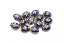 Cobalt Blue Cloisonné Flat Oval Beads with Pink Flowers LSC-2