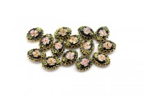 Black Cloisonné Flat Oval Beads with Pink Flowers LSC-3