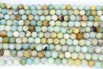 Flower Amazonite (Natural) Faceted Round Disco Cut Gemstone Beads