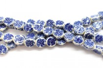 Blue Willow Style Coin Shaped Porcelain Beads with Floral Design