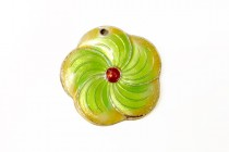 Yellow & Lime Green Enamel Flower Shaped Beads