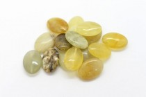 Flower Jade (Natural) Flat Oval Gemstone Beads