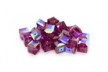 Fuchsia AB 5601 Swarovski Elements Crystal Cube Bead