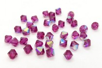 Fuchsia AB Swarovski Crystal Bicone Beads 5301 - Factory Pack Quantity