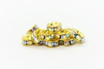 Gold Plated Brass / Crystal AB Swarovski Crystal Rhinestone Rondelle Spacer Bead