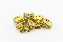 Clear Crystal Cubic Zirconia Squaredelle Spacer Bead - Gold Plate Over Brass