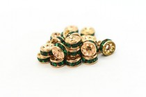 Gold Plated Brass / Emerald Swarovski Crystal Rhinestone Rondelle Spacer Bead