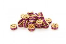 Gold Plated Brass / Fuchsia Swarovski Crystal Rhinestone Rondelle Spacer Bead