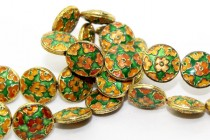 Enamel Green & Orange Floral Beads-Coin