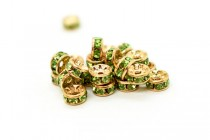 Gold Plated Brass / Peridot Swarovski Crystal Rhinestone Rondelle Spacer Bead